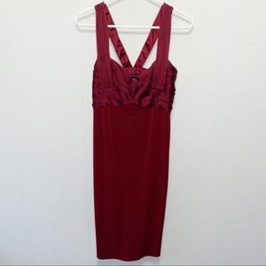 Laundry by Shelli Segal Maroon Cocktail Mini Dress